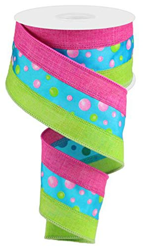"""2.5"""" Multi Color Polka Dot Ribbon: Turquoise, Lime Green & Pink 10 Yards (Turquoise, 2.5"""")"""