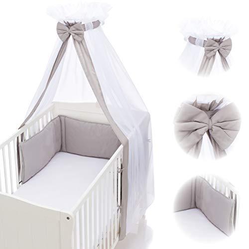 Babybett Umrandung Nestchen und Betthimmel Schleier im Set 100% Baumwolle (GRAU)