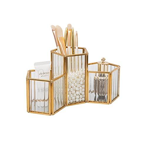 HARLIANGXY Organizador de brochas de maquillaje de cristal y latón, estilo vintage, hecho a mano, para tocador, escritorio, 12 x 11 x 11,5 cm, color dorado