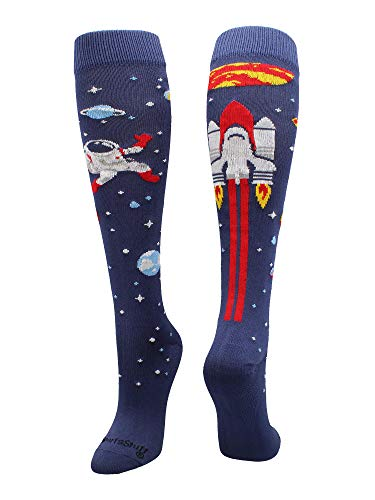 MadSportsStuff Astronaut Space Socks Over The Calf Length (Navy/Red/White, Small)