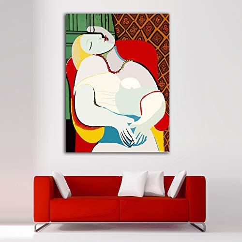 Desconocido Cuadro Lienzo El sueño Pablo Picasso – Varias Medidas - Lienzo de Tela Bastidor de Madera de 3 cm - Impresion Alta resolucion (37, 50)