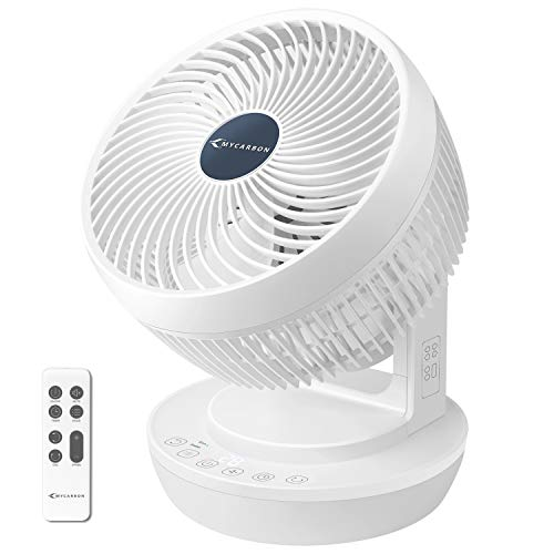 MYCARBONQuiet Air Circulator Fan, DC Cooling Fans , Oscillating Table Fan Remote Control with 8 Fan Speeds, 3 Modes, Timer function Perfect for Desks, Bedrooms and Offices