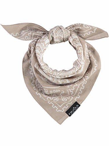 FRAAS Paisley Bandana Halstuch für Damen & Herren - 58 x 58cm Größe - 100% Baumwolle - Zeitloses italienisches paisley Tuch Beige
