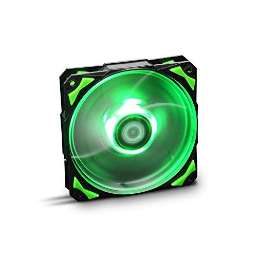 Nox Hummer H-FAN -NXHUMMERF120LG- Ventilador para Caja PC 120mm, LEDs brillantes, 7 aspas traslúcidas, rodamientos hidráulicos, esquinas soporte goma, color verde - negro