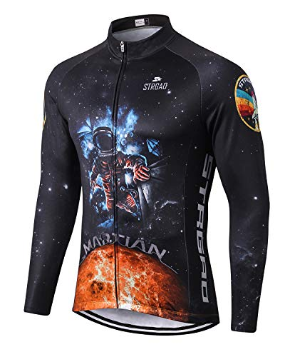 MR Strgao Men's Cycling Winter Thermal Jacket Windproof Long Sleeves Bike Jersey Bicycle Coat Size M