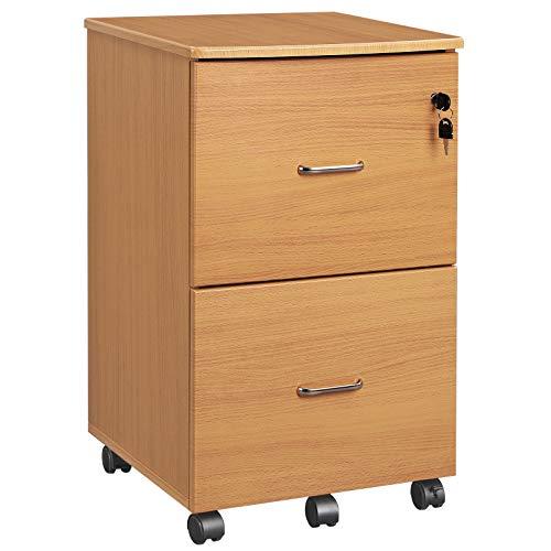 VASAGLE Rollcontainer mit Schloss und Schubladen, abschließbarer Aktenschrank mit Verstellbarer Hängeregistratur, buchefarben LCD27WNV1