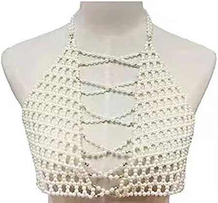 baidicheng Fashion Fine Jewelry Pearl Bra Vest Set Handmade Bead Body Chain Neckle Sexy Shoulder Chain (Metal Color : White)