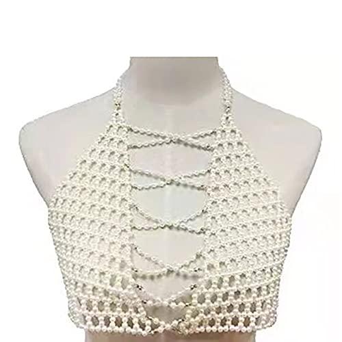 baidicheng Chaleco de sujetador de perlas de joyería fina hecha a mano, cadena de cuerpo y cadena de hombro sexy (color metálico: blanco)