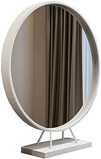 Iron Single-Sided Round European Makeup Mirror Desktop Bedroom Desktop Princess Dressing Beauty Mirror (Color : Black, Size : 60CM)
