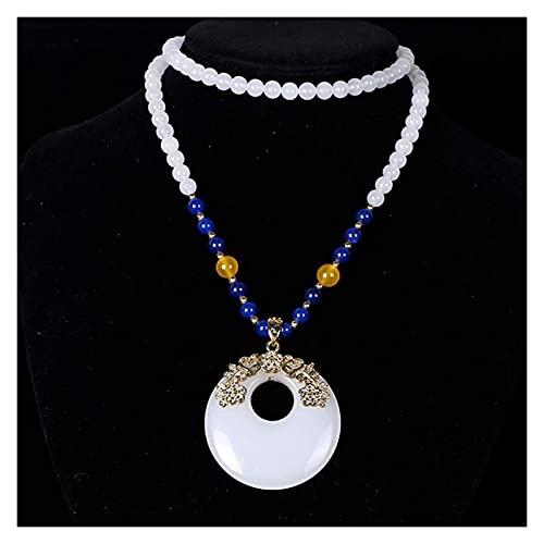 PRTOYO Feng Shui Collar de Mujer Riqueza Collar nefrita Oro Seda Jade Jade Anillo de Paz suéter Colgante Collar atrae Afortunado Regalo para Hombre Mujer Pareja Mejor Amigo