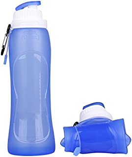 MY FRIDAY Collapsible Water Bottle Silicone, Foldable Leakproof Nontoxic 17oz, Travel Outdoor Sports Drinking Bottle for Hiking Camping Cycling Climbing Picnic Running Skiing Gym with Safety Whistle