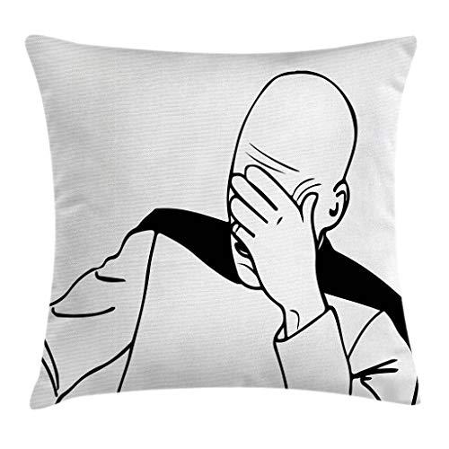 Ambesonne Humor Throw Pillow Cushion Cover, Captain Picard Face Palm Troll Guy Meme Caption Super Fun Online Illustration, Decorative Square Accent Pillow Case, 16' X 16', Black White