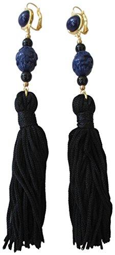Kenneth Jay Lane Black Tassel Navy Blue Beaded Long Dangle Drop Earrings