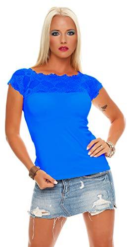 Mississhop 71 Damen Spitzenshirt Spitze Spitzen T-Shirt Bluse Shirt Langarmshirt Kurzarmshirt Royalblau/Kurzarm