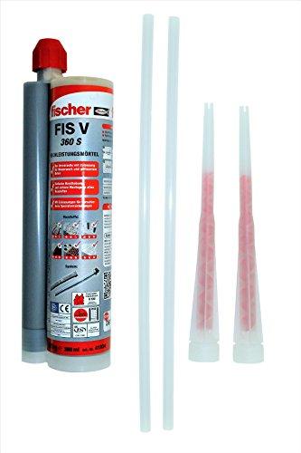 Fischer Hochleistungsmörtel Montagemörtel FIS V 360 S, 1 Kartusche 570 g, 2x FIS Statikmischer, 2x Mischer Verlängerung