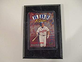 CHIPPER JONES ATLANTA BRAVES 1998 MLB FLEER ULTRA RBI KINGS  PLAYER CARD MOUNTED ON A 4  X 6  BLACK MARBLE PLAQUE