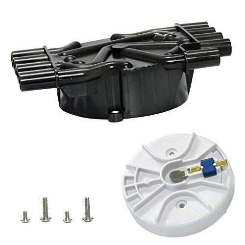 Ignition Distributor Cap and Rotor Kit Compatible with Chevy GMC Cadillac Vortec V8 5.0l 5.7l 7.4l Ignition Distributor Set Brass Terminals with OE Part # DR474 DR331