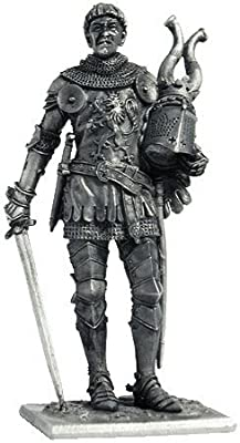 Western European Knight Tin Toy Soldiers Metal Sculpture Miniature Figure Collection 54mm (Scale 1/32) (M155)