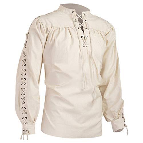Mens' Medieval Shirt Gothic Elastic Band Adjustable Round Neck & Long Sleeves Man Blouse