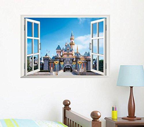 Lozse 3D Fenster Stadtlandschaft Wohnzimmerwand Sticker Poster
