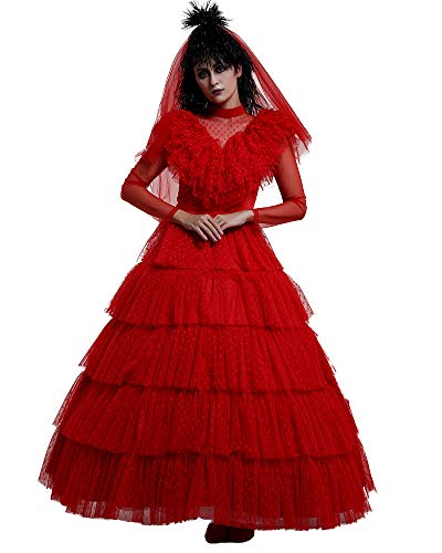miccostumes Women's Lydia Deetz Cosplay Costume Red Wedding Dress Hallowee (Medium)