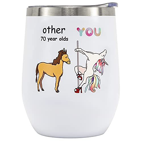 Crisky 70th Birthday Gifts for Women Friends Wine Tumbler Funny Ideas Gifts for Best Friend/Friends/Wife/Mom/Sister/Her 12oz Unicorn Vacuum Insulated Tumbler with Box, Lid, Straw