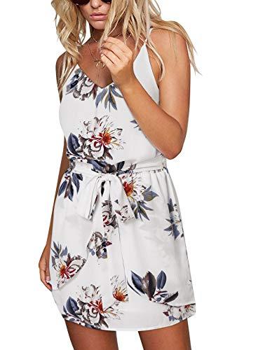 ACHIOOWA Sommerkleid Damen Ärmellos Strandkleid Chiffon V-Ausschnitt Blumen Casual Sexy Mini Trägerkleid Weiß 2XL