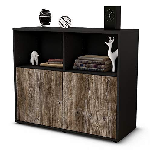 Stil.Zeit Sideboard Camilla/Korpus anthrazit matt/Front Holz-Design Treibholz (92x79x35cm) Push-to-Open Technik