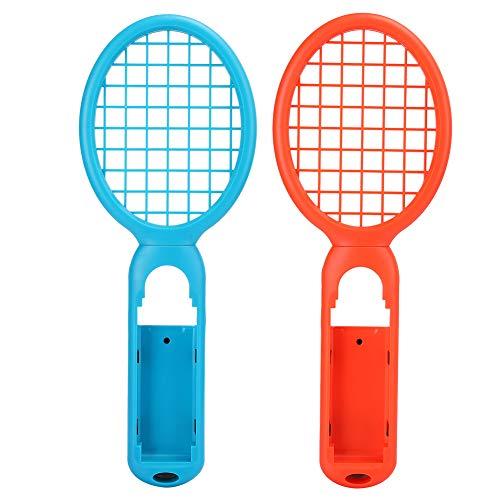 Controlador de Juego de Tenis, 1 par de Controlador de detección de Movimiento con Mango de Raqueta de Tenis para Consola de Juegos, Controladores Mario Tennis Aces Accesorios de Juego(Rojo + Azul)