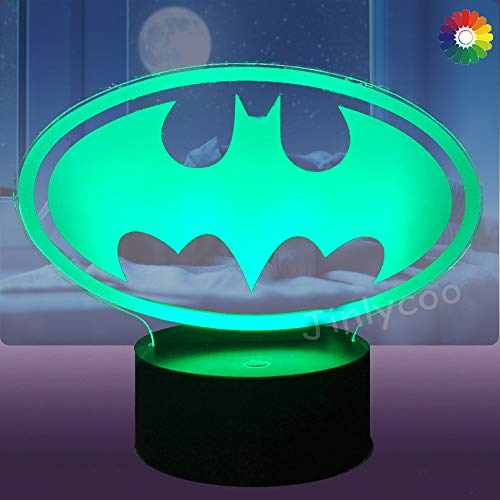 Batman Night Light for Boy Room DC Series Movie Legend Justice League Logo 3D Optical Illusion Lamp Joker LED Night Light Touch USB Cable Change Table Lamp Boy Gift Child Kid Toy