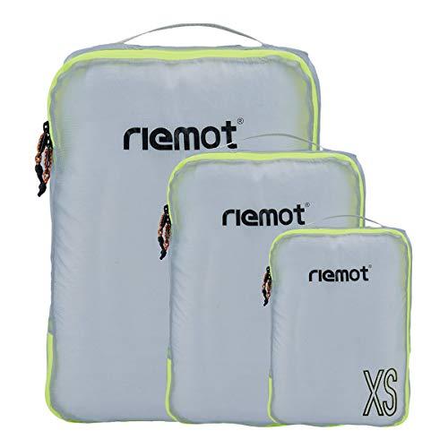 Packing Cubes de Compresión, Organizadores de Equipaje, 3 Set Organizador para Maletas, Bolsas para Ropa Zapato Sucia de Viaje, Accesorios para Viajes de Riemot Gris Claro