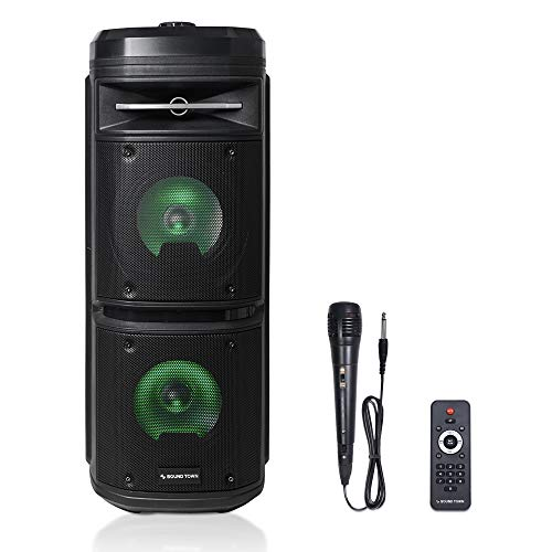 """Sound Town Dual 65"""" Portable PA Speaker with Builtin Rechargeable Battery 1 Wired Mic Bluetooth USB SD Card Reader LED Light OPIK26X"""