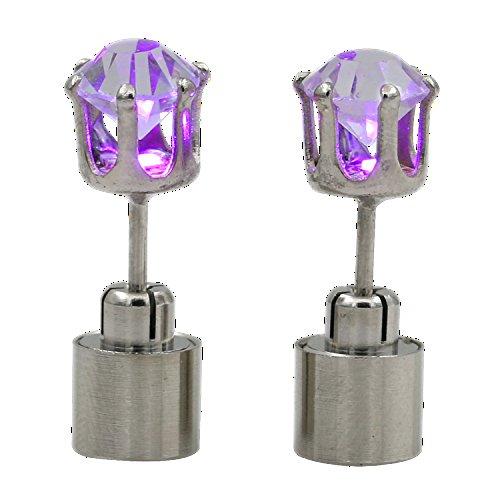 2x LED Ohrringe Leucht Ohrstecker Ohrringe leuchtende Ohringe mit Licht Halloween Weihnachten (Lila)