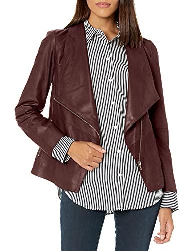 BB DAKOTA Damen east side drape front jacket Lederjacke, Brombeerfarben, Medium