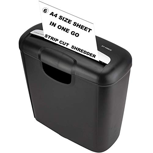 SToK 6-Sheet Strip Cut Paper and Credit Card Shredder with 10 Liter Waste Basket Capacity with One Year Offsite Warranty