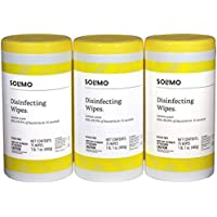 3-Pack Solimo Disinfecting Wipes, 75 Wipes Each (Lemon Scent),