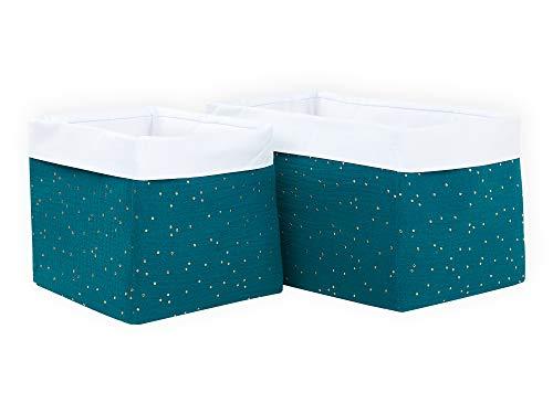 KraftKids Stoff-Körbchen in Musselin goldene Punkte auf Petrol, Aufbewahrungskorb für Kinderzimmer, Aufbewahrungsbox fürs Bad, Größe 20 x 33 x 20 cm