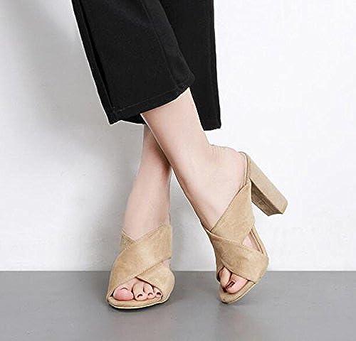 AWXJX été Tongs Femme Chaussures Fond épais épais avec Haut Talon Waterproof