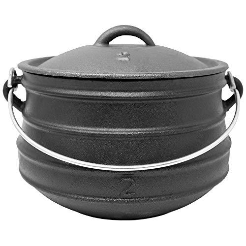 ToCis Big BBQ Potjie #2 Flat (ohne Füße) | Südafrikanischer Dutch Oven Gusseisen Koch-Topf | Größe: ca. 6 Liter