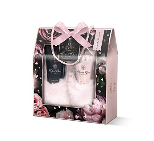 The Luxury Bathing Company Supreme Soothers Festive Gift Set. Including Luxury Slippers with 150ml Foot Wash and 150ml Foot Cream