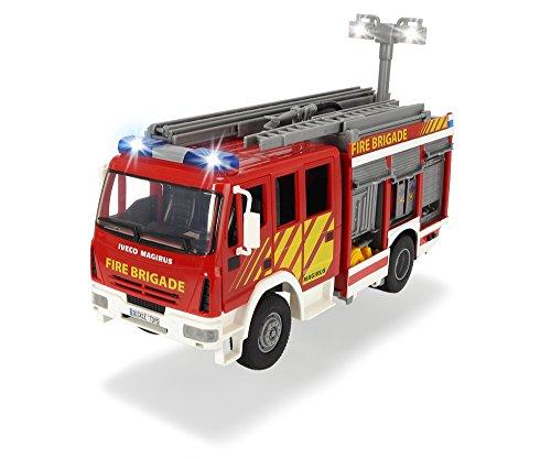 Dickie Toys 203717002 - Iveco Fire Engine, Feuerwehrauto mit Freilauf, mit Licht- und Soundfunktion, mit Wasserspritze, 30cm*