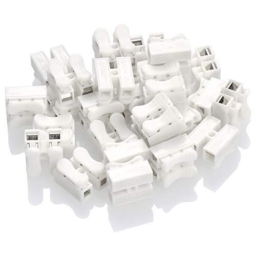 FOCCTS 100 Stück CH2 Schnell Verdrahtungsklemme, Federklemmen Steckverbinder Kabel Drahtverbinder Schnellkupplung Schnelle Kabel für Beleuchtungsgeräte, elektrische Maschinen, Haushaltsgeräte