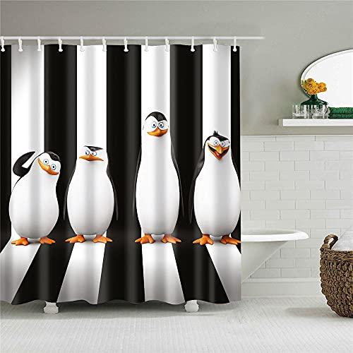 PeakLimits Waschbar Antischimmel Duschvorhang 120X180 cm Mit 12 Duschvorhang Ring Polyester Shower Curtain Pinguin-Mustertier Lustig Duschvorhang 120X180
