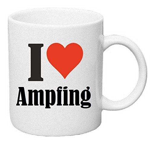 Reifen-Markt Kaffeetasse I Love Ampfing Keramik Höhe 9,5cm ⌀ 8cm in Weiß