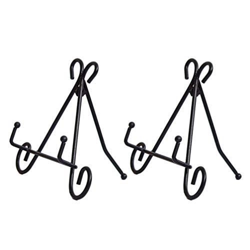 Topbathy - 2 unidades de hierro para cookie, soporte de fotos ajustable, cuadro de pie, marco para la boda, decoración de cocina, color negro