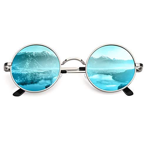 CGID Retro Vintage Sonnenbrille, inspiriert von John Lennon, polarisiert mit rundem Metallrahmen, für Frauen und Männer E01, B 47mm Silber Blau, 47