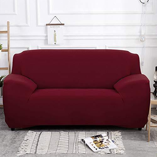 NIBESSER Sofabezug elastische Stretch Sofaüberwurf Sofa Couch Sessel Husse Bezug Decke Sofabezüge 1/2/ 3/4 Sitzer (3-Sitzer, weinrot)