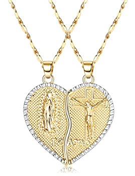 IRONBOX 18K Gold Plated Couples Necklace Virgin Mary Necklace Jesus Necklace Heart Necklace Plated Gold Necklace Couple Jewelry for Him and Her