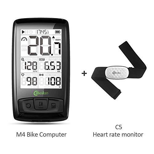 WANGMDELING Fietsaccessoire, fietscomputer, draadloze Bike Computer M4 (ETB met C5 hartslagmeter) kilometerteller voor fiets