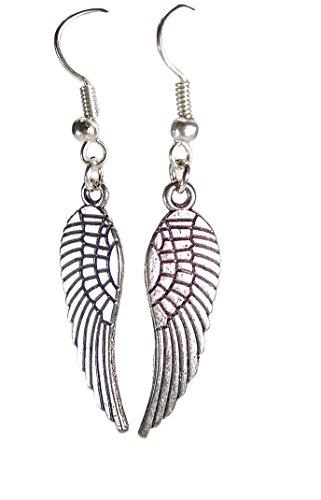 Geralin Gioielli Pendientes de plata para mujer, diseño de alas de ángel, estilo vintage